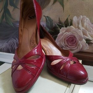 Sofft Red Patent Leather Retro Pumps